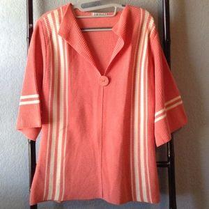 Orvis 3/4 Wide Sleeve V-Neck Striped Knit Tunic